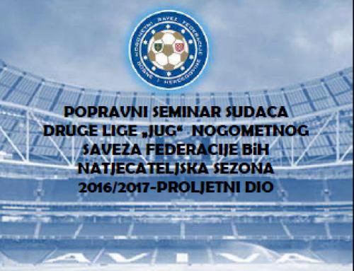 """Program popravnog seminara sudaca Druge lige FBiH skupina """"JUG"""""""