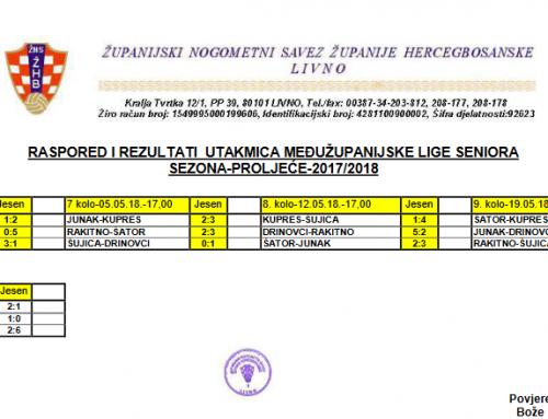 MŽNL SENIORA – Raspored utakmica sezona proljeće 2017/2018