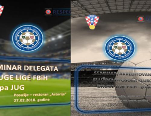 Program seminara delegata i službenih osoba klubova II. Lige FBiH grupa Jug – proljetni dio 2018.