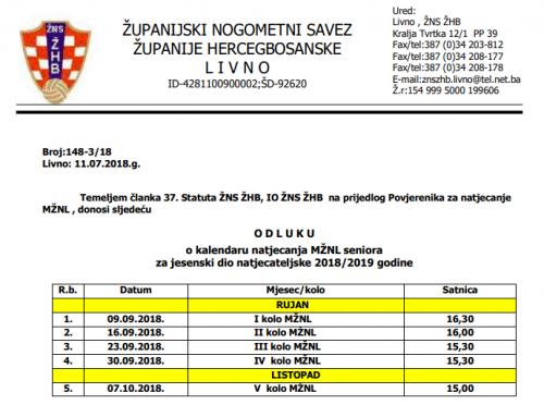 Kalendar natjecanja – MŽNL Seniora 2018/2019
