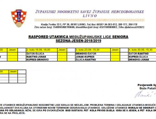 MŽL SENIORA – Raspored utakmica